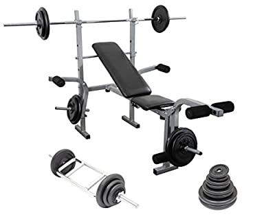 Weight Training Set Barbell + Hammer Curl Bar + Weights Bench Complete Home Multi Gym Set by UK Fitness
