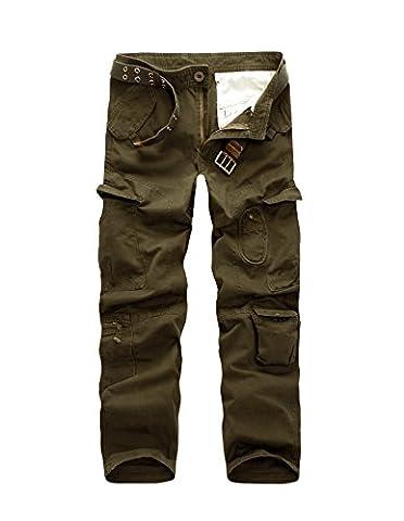 AYG Cargo Pantalon Homme Pantalon Cargo Homme Pants(Earth Army Green,32)