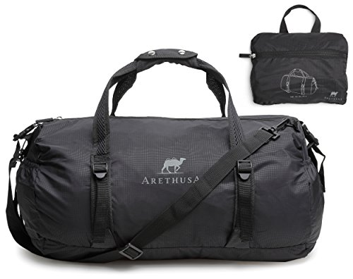 foldable-travel-duffle-bag-arethusa-packable-flight-cabin-holdall-with-shoulder-strap-black-35-litre
