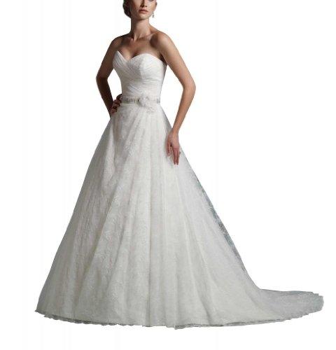 GEORGE BRIDE - Robe de mariage au bustier coeur de corset plisse et ruban perle Blanc