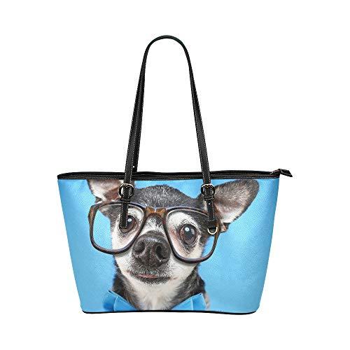Zemivs Nette Chihuahua Hund Tier Große Leder Tragbare Top Griff Hand Totes Taschen Kausal Handtaschen Reißverschluss Schulter Einkaufstasche Geldbörse Organizer Für Dame Girls - Handmade Hunde Kostüm