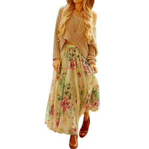 Sannysis Damen Chiffon- gefalteter langer Maxi Boho-Kleid Elastische Taillen-Rock (S, Grün) (Elastische Rock Butterfly Taille)