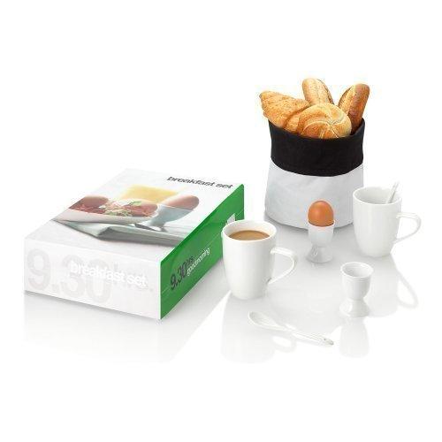 Set Per La Prima Colazione In Ceramica - Set Per 2 Persone Da Caffè e Uovo Idea Regalo Natalizio