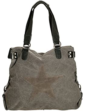 Damen Handtasche Tasche mit Stern aus Canvas Tasche mit Patches extra lange Henkel für die Schulter Schultertasche...