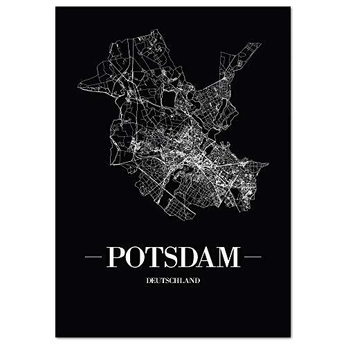 JUNIWORDS Stadtposter, Potsdam, Wähle eine Größe, 21 x 30 cm, Poster, Schrift A, Schwarz