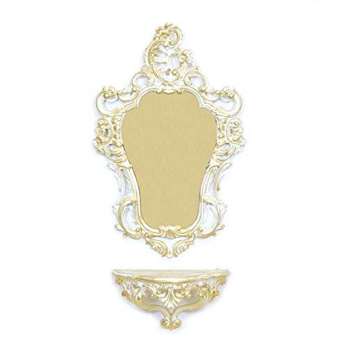 Idea Casa Set Konsolentisch + Spiegel Weiß und Gold Barock im Vintage-Stil