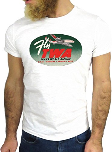 T SHIRT JODE Z3473 TWA PLANE AIRLINES USA NEW YORK CHICAGO LOGO VINTAGE GGG24 BIANCA - WHITE L (T-shirt Chicago Herren)
