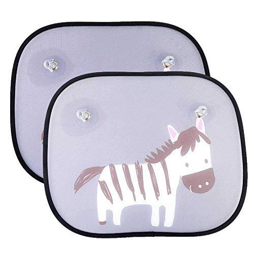 2 Parasoles de Coche para Bebés- IntiPal Universales Parasoles para Ventanas Lateral y Trasera de Carro , Bloqueadores de Rayos UV y Calor Solar, Buena Protección para Sus Niños y Mascotas ( Patrón de Cebra )