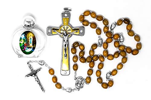 td Rosenkranz mit Eichel, Swarovski-Kristall, Metall-Kruzifix mit Jesus, Glasflasche Lourdes Heiligwassers und Lourdes Gebetskarten ()