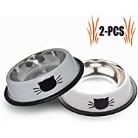 Futternapf Katze, Legendog 2 Stück Edelstahl Rutschfest Katzen Napf | Katzenfutter Wassernapf Schüssel