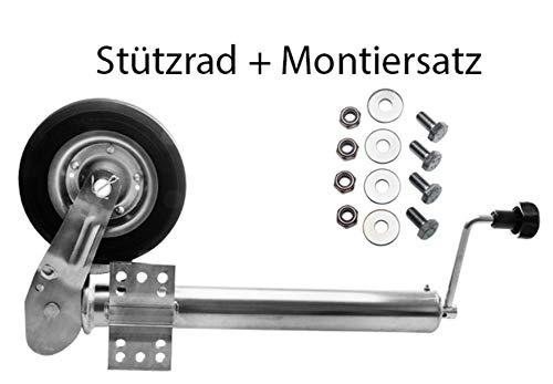 Herkules Anhänger Stützrad Automatik 60 mm klappbar mit Stahlfelge Stützlast 400 kg plus Montagesatz