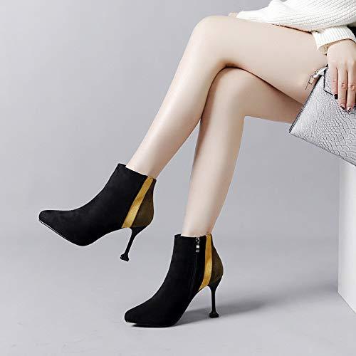 Suede Stiletto Heel (HRCxue High Heels Suede Stiletto High Heel Side Zip Ankle Boots Damen Schuhe, lichtgrün, 35)