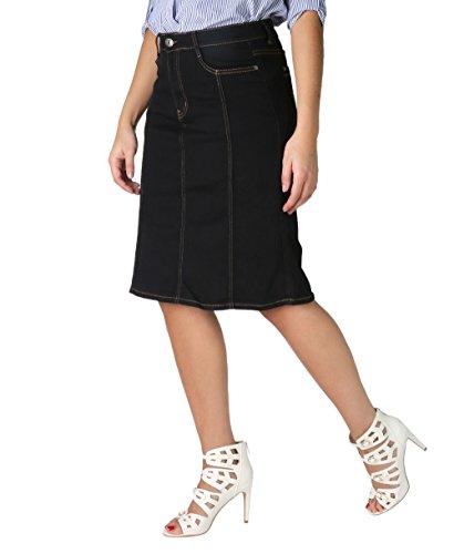 2116-BLK-22: Panelled Plus A-Line Denim Skirt (Schwarz, Gr.50) (Baumwoll-stretch-office)