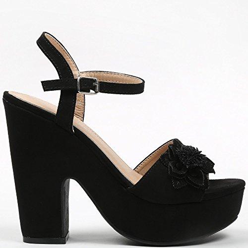 Ideal-Shoes Sandali con piattaforma, effetto pelle scamosciata e decorate con un fiore Tahys Nero (nero)