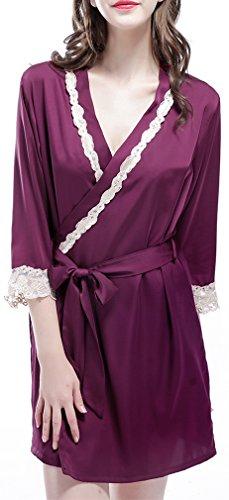 FLYCHEN Femme Lace Satin Nuisettes Kimonos Sexy Elégant Robe de Chambre Manches 3/4 Violet foncé