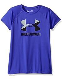 Under Armour Camiseta de Manga Corta para niña con Logotipo Grande, niña, 1331678-530, Constellation Purple/Overcast Grey/Black, Youth Medium