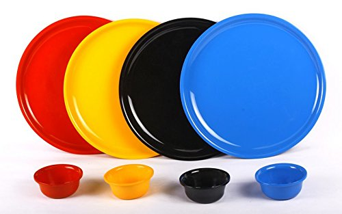 De-Lite Acrylic Full Dinner Plate with Bowl, Round, Multi Colors, Set of 4