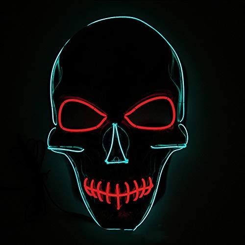 Domino Kostüm Cosplay - GenäHte Mund Halloween Leuchtende Maske, 3 Arten Von Flash-Modus EL Kaltes Licht Maske FüR Weihnachten Karneval KostüM Cosplay Domino