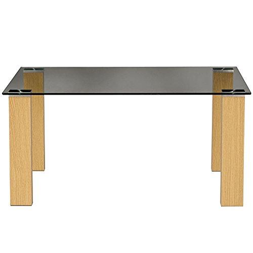 DENHAM - table basse surface en verre - finition chene