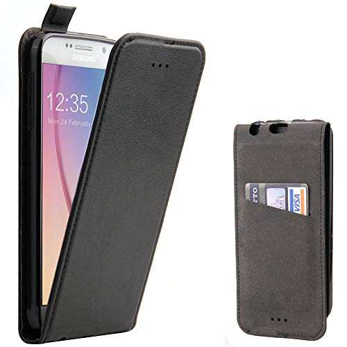 Galaxy S6 Hülle, Supad Leder Tasche für Samsung Galaxy S6 Handyhülle Flip Case Schutzhülle (Schwarz)