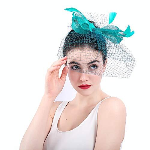 Wenzhihua Grüne Vintage Feder Fascinator Mesh Looped Net Haar Clip Headwear Blume für Royal Ascot Cocktail Hochzeitshüte für Frauen