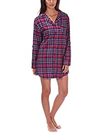 Ladies Brushed Cotton Flannel Check Shirt Nightie Nightwear Forever Dreaming