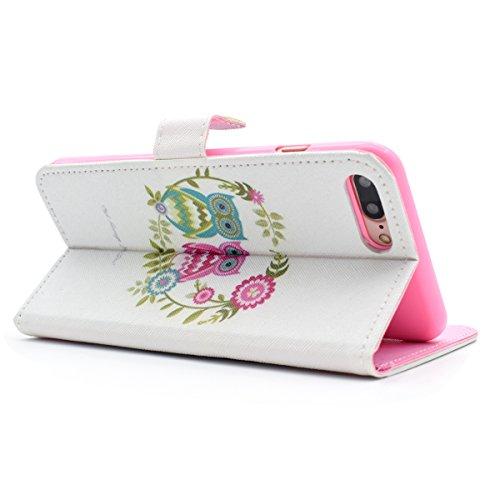 Etsue Coque Housse Etui pour iPhone 7 Plus,iPhone 7 Plus Cuir Wallet Coque,iPhone 7 Plus Papillon Floral Fairy Girl incrusté de strass diamant Brillant Glitter cuir flip Housse de protection ,PU cuir  Hibou