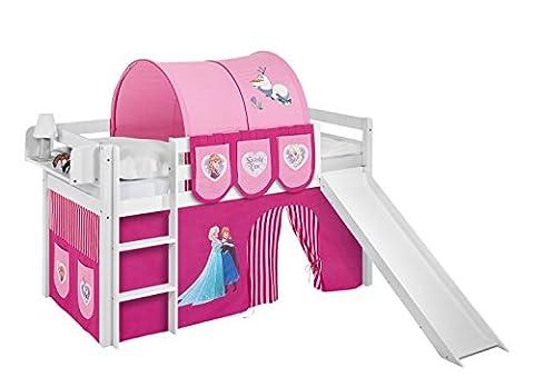Lilokids Spielbett Jelle Eiskönigin, Hochbett mit Rutsche und Vorhang Kinderbett, Holz, rosa, 208 x 98 x 113
