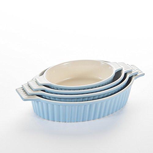MALACASA, 4pcs Plats de Cuisson au Four en Porcelain, Plateaux de cuisson, Ramequin