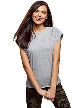 oodji Ultra Mujer Camiseta de Algodón con Borde Inferior No Elaborado (Pack de 2)