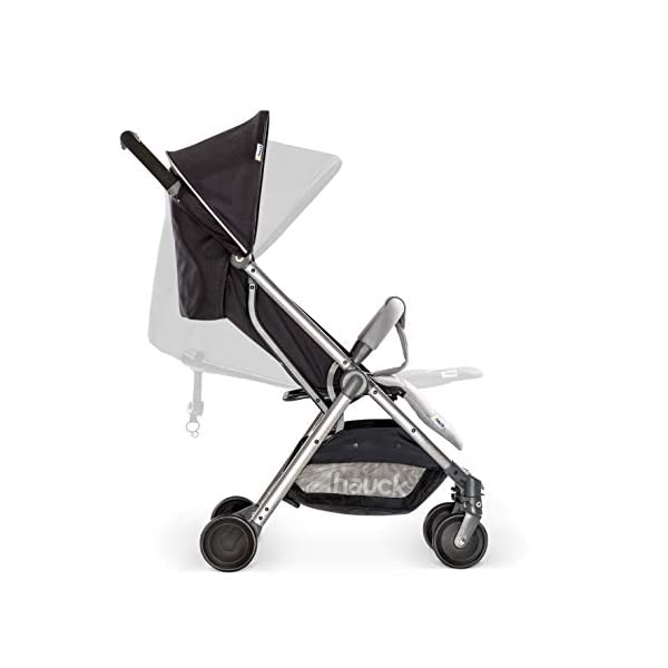 Hauck Swift Plus, Compact Pushchair with Lying Position, Extra Small Folding, One Hand Fold, Lightweight, Carrying Strap, from Birth Up To 15 kg, Silver/Charcoal Hauck EASY FOLDING - This pushchair is as easy to fold away as possible - the comfort stroller can be folded with one hand only within seconds, leaving one hand always free for your little ray of sunshine LIGHTWEIGHT - This pushchair can not only be folded away very compactly, but also easily transported by its carrying strap thanks to its light weight and aluminium frame COMFORTABLE - Backrest and footrest are multi-adjustable, the hood extendable. In addition, the pushchair comes with suspension, swiveling front wheels, soft padding, and large shopping basket 3