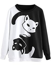 DEELIN Liquidación Blusa Moda para Mujer O-Cuello Gato ImpresióN Sudadera De Manga Larga Jerseys Blusa Camiseta Informal