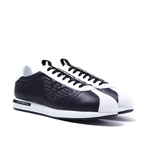Emporio Armani Zapatillas de Encaje con Logo en Blanco y Negro de Cortez