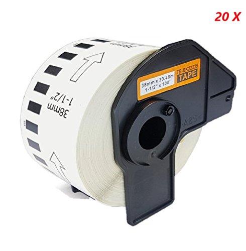 Azprint 20x Endlosetiketten Papier Kompatibel für Brother DK22225 DK-22225 (38mm x30,48m) für Brother P Touch QL-Etikettendrucker QL500 QL550 QL560 QL570 QL580N QL650TD QL700 QL-720NW QL1050 QL1060N / Thermopapier mit Kunststoffhalter
