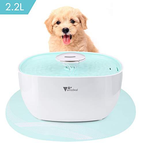 Amzdeal 2.2l fontana per cani e gatti - distributore automatico di acqua per animali domestici intelligente e silenzioso con filtro a carboni attivi e pad in silicone