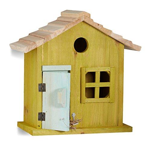 Relaxdays Nistkasten, Vogelhäuschen, Tür, Fenster, Holz, kleines Flugloch, Singvögel, HBT: 25,5 x 15,8 x 13 cm, hellgrün