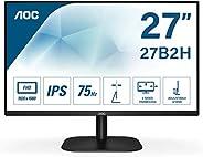 AOC 27B2H - Monitor para PC de 27 pulgadas Full HD 75Hz (1920x1080, IPS, Mega Infinity DCR, Flickerfree, LowBl