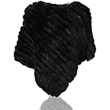 Uilor® Poncho En Fourrure De Lapin Tricoté D'élevage Véritable
