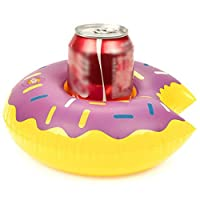 lindahaot Inflatable Donut Drink Can Cup Holder Hot Tub Swimming Pool Party Bath Soda Bottle Coaster