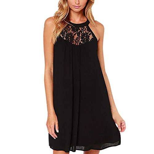 friendGGDamen Ärmelloses Kleid Bodycon Abendkleid Kurzes Minikleid Neckholder Lace Panel Chiffon-Kleid (M, schwarz) -