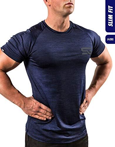 Satire Gym Fitness T-Shirt Herren - Funktionelle Sport Bekleidung - Geeignet Für Workout, Training - Slim Fit (L, Navy Blue meliert)