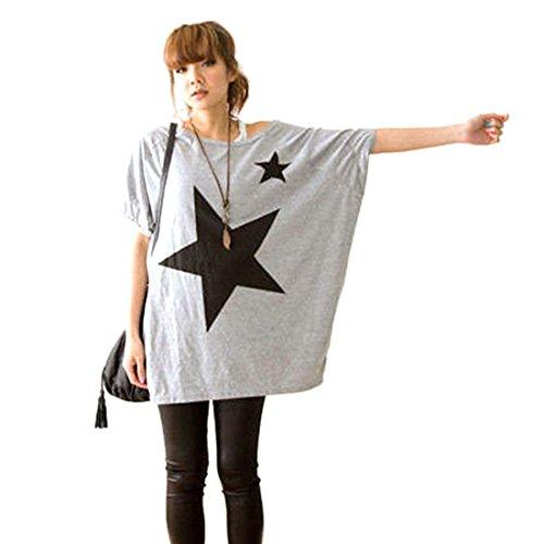 Ukamshop Frauen Lange lose Flügel Dolman Sleeve Stern T-Shirt Casual Style Blusen (grau) (Lange Dolman)