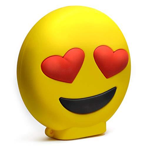 KawKaw Emoji-Powerbank mit 8800 mAh und 2X USB-Anschluss - Viele Motive wie lustige Smileys & süße Emojis - Geschenkidee witzig & inovativ - Kuss, Grinsen, Zwinkern, Zunge, Herzen, Brille (Herzen)
