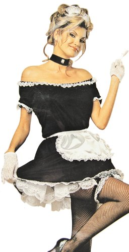 Für Maid Erwachsenen French Kostüm - Sexy French-Maid Zimmer-Mädchen Kostüm Gr. 40/42 Hausmädchen-Verkleidung Attraktives Haus-Frauen Dress Karneval Fasching Halloween Motto-Party Rollenspiele