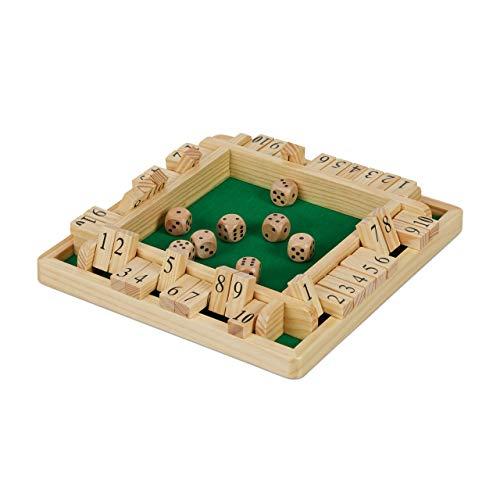 Relaxdays Shut The Box 10er, Reisespiel für 2 bis 4 Spieler, Spielbrett mit 8 Würfeln, Klappenspiel, Holz, natur/grün