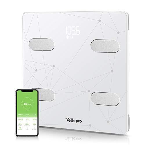 Körperfettwaage mit APP Bluetooth Personenwaage, Vellepro Körperanalysewaage Digitale Waage mit Körperfett, BMI, Gewicht, Muskelmasse,usw. Doppelfrequenz Körperfettwaage mit 13 Körperdaten