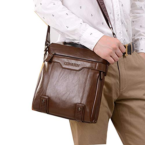 NanNew Herren Vintage Leder Business Laptop Aktentasche Schulter Satchel School Distressed Tasche, Simplicity Slim Umhängetasche Sleeve mit Griff Nylon Wasserdicht Notebook (Kaffee) - Distressed Satchel