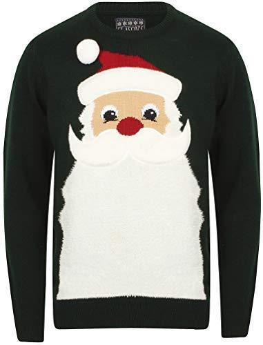 Seasons Greetings Herren Weihnachten/Weihnachts Pullover - Weihnachtsmann Bart - Heilig Grün/Schwarz, Größe - M - 40' Kasten