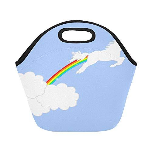 Borsa termica per il pranzo in neoprene leaping unicorno con arcobaleno tra le nuvole riutilizzabile di grandi dimensioni borse spessa per il pranzo termica per pranzo, per esterni, lavoro, ufficio, scuola