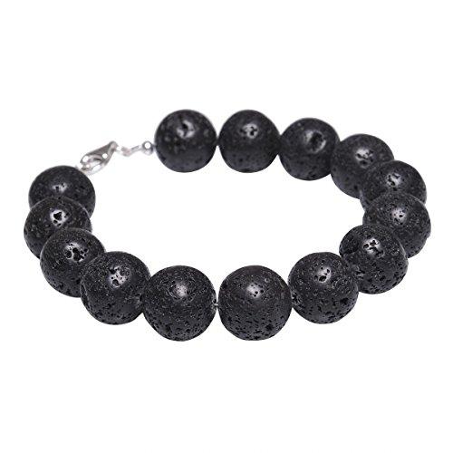 Armband aus echter Lava mit Poren & 925 Silber schwarz Armschmuck Armkette